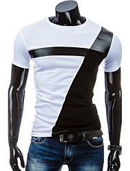 cheap -Men's Sports Cotton Slim T-shirt - Patchwork Black & White
