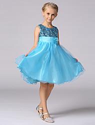 Vestido de menina de flor de joelho com uma linha - Vestido de cetim de lã com lantejoulas de cetim com pé de lã com lentezinho
