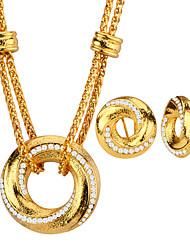 Набор украшений Ожерелье / серьги Мода Платиновое покрытие Позолота Круглый Геометрической формы Белый Золотой Ожерелья Серьги ДляСвадьба