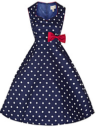 Women's Going out / Casual/Daily Vintage / Street chic A Line Dress,Polka Dot Sweetheart Knee-length Sleeveless