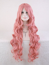 Capless Pink Color High Quality Natural Curly Synthetic Wigs