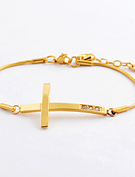 Da donna Bracciali a catena e maglie Acciaio inossidabile imitazione diamante Di tendenza A croce Argento Dorato Oro rosa Gioielli 1 pezzo