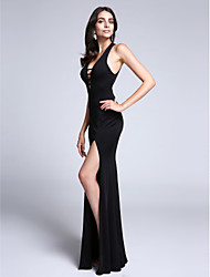 Sheath / Column V-neck Watteau Train Jersey Formal Evening Dress with Split Front by TS Couture®