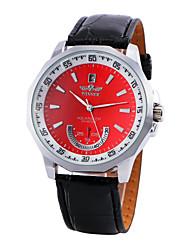 preiswerte -WINNER Herrn Automatikaufzug Mechanische Uhr Armbanduhren für den Alltag PU Band Charme Kleideruhr Schwarz