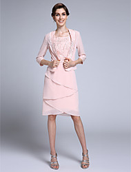 Sheath / Column Square Neck Knee Length Chiffon Mother of the Bride Dress with Beading by LAN TING BRIDE®