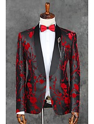 cheap -Black Patterns Slim Fit Polyester Suit - Notch Single Breasted One-button