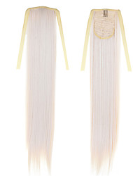 cheap -22 inch Synthetics Synthetic Hair Extension Classic Straight Cross Type Cheap Blonde Long Straight Tail 50cm 22inch 100g #60Drawstring