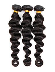 "3 Pcs/Lot 8""-26"" Virgin Indian Weft Hair Extensions Color 1B# Loose Wave Human Hair Bundles 300G"