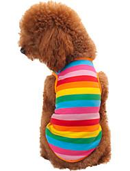 abordables -Chat Chien Tee-shirt Vêtements pour Chien Rayure Arc-en-ciel Coton Costume Pour les animaux domestiques Homme Femme Mode