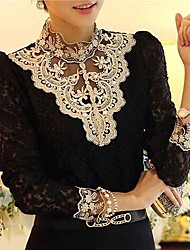 cheap -Women's Lace Lace Crochet Black/Beige Blouse,Vintage Stand Collar Long Sleeve