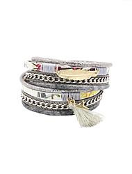 economico -Bracciali Bracciali con ciondoli / Dell'involucro del braccialetto / Bracciali in pelle Lega / Pelle / Acrilico / Strass / Tessuto