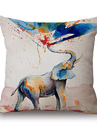 1Pcs Ink Painting Elephant Pattern Cotton Pillow Cover