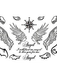 cheap -5PCS Fashion Angel Wings Body Art Waterproof Temporary Tattoos Sexy Tattoo Stickers (Size: 3.74'' by 5.71'')