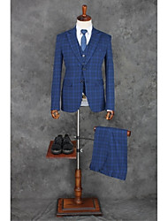 cheap -Blue Stripes Slim Fit Polyester Suit - Notch Single Breasted Two-buttons