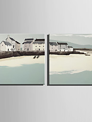 cheap -E-HOME® Stretched Canvas Art Coastal Cabin Decoration Painting  Set of 2