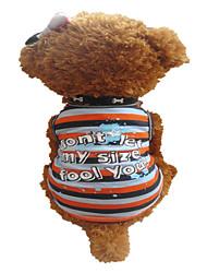 Cachorro Camiseta Roupas para Cães Respirável Riscas Corações Cinzento Preto/Laranja Faixas-Zebra Ocasiões Especiais Para animais de
