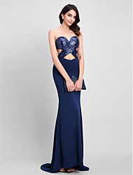 cheap -Mermaid / Trumpet Sweetheart Sweep / Brush Train Sequined Jersey Formal Evening Dress with Sequins by TS Couture®
