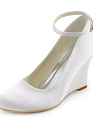 cheap -Women's Shoes Stretch Satin Spring / Fall Heels Wedge Heel Buckle White / Wedding / Party & Evening / Dress / Party & Evening