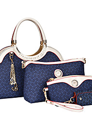 cheap -Women Bags PU Shoulder Bag Tote Clutch Bag Set 4 Pieces Purse Set for Shopping Casual Formal Office & Career All Seasons White Brown Blue
