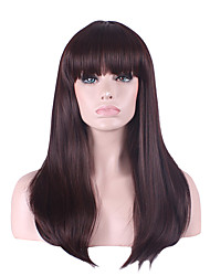 cheap -Synthetic Wig Straight Asymmetrical Haircut / With Bangs Synthetic Hair Natural Hairline Brown Wig Women's Long Capless