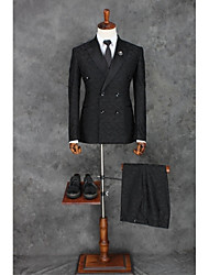 cheap -Black Patterns Slim Fit Polyester Suit - Notch Double Breasted Two-buttons
