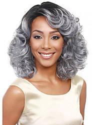 best-seller de l'Europe et les États-Unis perruque 14 pouces gris dégradé noir perruque d'âge moyen