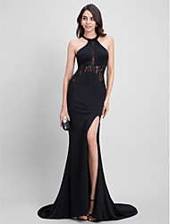 Mermaid / Trumpet Jewel Neck Sweep / Brush Train Jersey Formal Evening Dress with Lace by TS Couture®