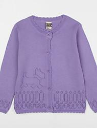 preiswerte -Mädchen Bluse-Lässig/Alltäglich einfarbig Baumwolle Herbst Lila / Weiß