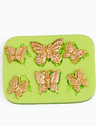 cheap -6 Filigree Butterflies Silicone Mold for Candy Making Tools Cake Decoration Mould Color Random