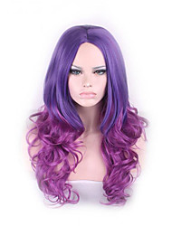 Long Curly Wavy Cosplay Central Parting Women Wig 65cm Fashion Hair Wig Girl Gift Light Dark Purple Ombre