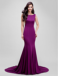 Mermaid / Trumpet Bateau Neck Court Train Jersey Formal Evening Dress with Pleats by TS Couture®
