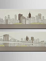 povoljno -Pejzaž Europska Style, Dvije plohe Platno Vertikalno Print Zid dekor Početna Dekoracija