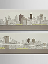 cheap -Landscape European Style, Two Panels Canvas Vertical Print Wall Decor Home Decoration