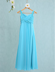 Mermaid / Trumpet Straps Floor Length Chiffon Junior Bridesmaid Dress with Criss Cross by LAN TING BRIDE®