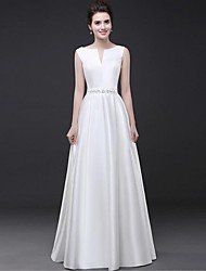 Sheath / Column Notched Floor Length Satin Formal Evening Dress with Beading Sash / Ribbon by HQY