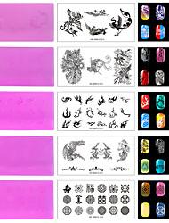 5pcs / lot rote Umwelt Kunststoff Nagel Stempelplatte, Muster im chinesischen Stil. (Kd-sm612-011-015)