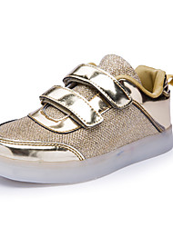 cheap -Girls' Shoes Knit Paillette Leatherette Fall Winter Light Up Shoes Comfort Light Soles Sneakers Sequin Magic Tape Hook & Loop For Outdoor