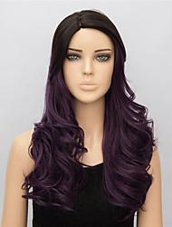 economico -Donna Parrucche sintetiche Medio Ondulati Viola parrucca nera costumi parrucche