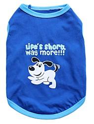 economico -Gatto Cane T-shirt Abbigliamento per cani Animali Blu Cotone Costume Per animali domestici Per uomo Per donna Di tendenza