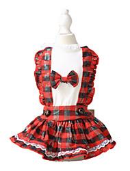 Chat Chien Robe Vêtements pour Chien Mode Tartan Rouge Rose Costume Pour les animaux domestiques