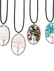 cheap -Beadia 1Pc Fashion 3.5x5cm Oval Shape Wisdom Tree Stone Pendant Necklace(45cm Length)