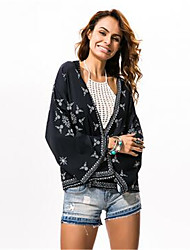 cheap -Women's Beach Top Coat Oversized T-shirt Formal Style / Print V Neck