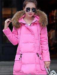 baratos -Mulheres Sólido Diário Moda de Rua Padrão Acolchoado, Com Capuz Manga Longa Algodão Inverno Outono