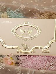economico -Piegato in tre Inviti di nozze-Invito Cards Classico Carta perlata