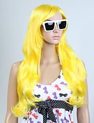 Capless Yellow Color Long High Quality Natural Curly Hair Synthetic Wigs