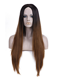 cheap -Europe and the United States Straight Selling Foreign Trade Black Light Brown in Long Synthetic Wigs