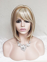 cheap -Synthetic Wig Straight Blonde Bob Haircut / With Bangs Synthetic Hair Highlighted / Balayage Hair / Natural Hairline Blonde Wig Women's Short Capless