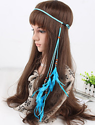 cheap -Women's Bohemia Casual Peacock Feather Beads Pendant Weave Headbands