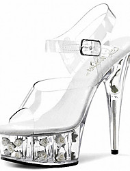 cheap -Women's Shoes PVC Spring Summer Club Shoes Light Up Shoes Sandals Heels Stiletto Heel Platform Crystal Heel Translucent Heel Crystal