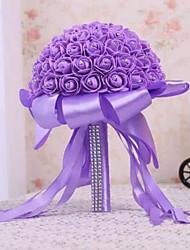preiswerte -Hochzeitsblumen Sträuße Hochzeit Elastisches Satin Strass Satin Schaum 32 cm ca.